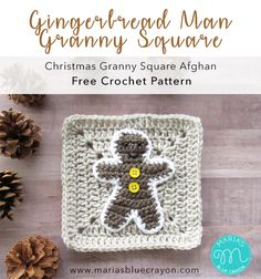 Gingerbread Man Granny Square | Free Crochet Pattern | Part of the Christmas Granny Square Afghan crochet along