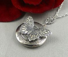 Steampunk Butterfly Silver Antique Locket Insect by ManoCelebrates, $23.50