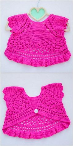 50 New And Easy To Make Free Crochet Pattern - Diy Rustics Crochet Bolero Pattern, Crochet Baby Dress Pattern, Crochet Baby Cardigan, Crochet Baby Clothes, Crochet Jacket, Crochet Patterns, Pattern Dress, Crochet Flower, Crochet Ideas
