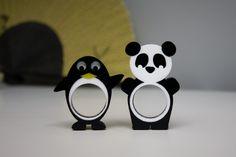 Panda and Penguin rings!