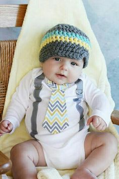 Luv this whole outfit! Suspender onsie, chevron tie, & knitted hat!