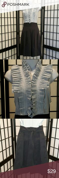 *NWOT* BCBGMAXAZRIA Blue White A-line Dress Never Worn, Hidden Button Down Collar, Faux Slit, Tie Back High neck Ruffle Stripe, Blue Solid Bottom, Side Zipper, Fully Lined, Cotton/Nylon/Spandex, Thanks for sharing my closet, I wish show Posh love by doing the same. BCBGMaxAzria Dresses