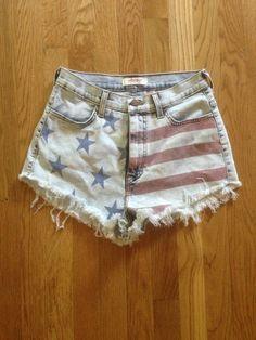American Flag Acid Wash Shorts by MermaidsCorner on Etsy