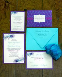 Modern Peacock Wedding Invitation by icandothatdesign on Etsy