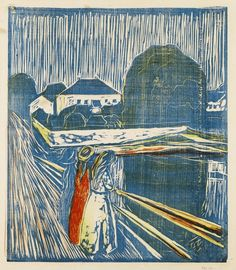 workman:  hipinuff: Edvard Munch (Norwegian:1863–1944)  – The Girls on the Bridge, 1918. Woodcut printed in blue, red, orange and yellow, th...
