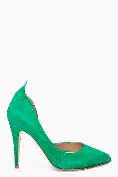 BY MALENE BIRGER Green Suede Tenera Heels