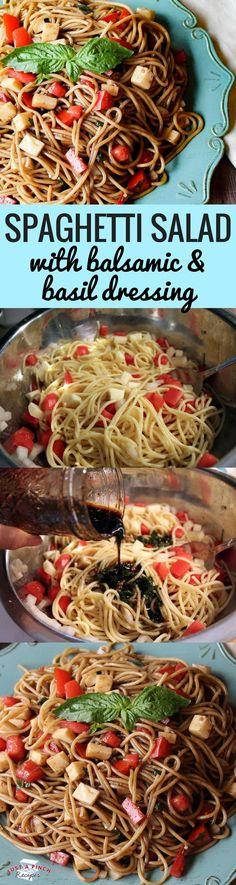 Caprese salad meets spaghetti salad in this delicious summer side dish recipe! -sub spaghetti squash! Full of fresh tomatoes, creamy mozzarella and basil. Creamy Spaghetti, Summer Spaghetti, Spaghetti Squash, Shrimp Spaghetti, Pasta Dishes, Food Dishes, Rice Dishes, Side Dish Recipes, Dinner Recipes