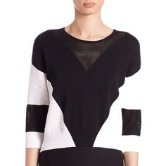 Ohne Titel Geometric Intarsia Cropped Sweater ($285) ❤ liked on Polyvore featuring tops, sweaters, apparel & accessories, 3/4 length sleeve tops, sheer sweater, sheer chevron top, geometric sweater and geometric print sweater