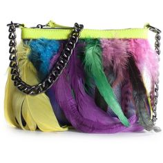 Betsey Johnson Neon Feather Cross Body Bag - Yellow ❤ liked on Polyvore