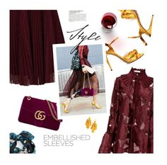 """""""Embellished Sleeves"""" by magdafunk ❤ liked on Polyvore featuring Jolie Moi, Gucci, Kate Spade, Echo, McGinn, StreetStyle, lace, burgundy and embellishedsleeves"""