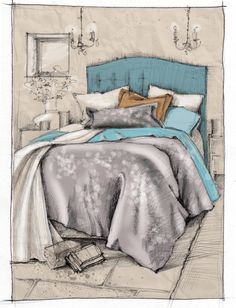 bedroom1 rendered #дизайнинтерьера #ручнаяподача #маркер #скетч #интерьер #designinterior #marker #sketches #interior #Interiorrendering #renderbyhand