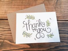 Handlettered watercolor thank you card by BeckyEnglishDesign