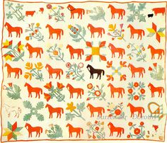 I love this and I'm not even that into horses! Pieced & Applique Horses Quilt 1850 New York Old Quilts, Antique Quilts, Vintage Quilts, Quilting Projects, Quilting Designs, Horse Quilt, Applique, Green Quilt, Sampler Quilts