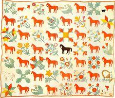 Pieced & Applique Horses Quilt 1850 New York
