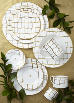 Domenico Vacca Tableware Collection by Prouna, white alligator print on fine bone china, hand-painted 24-karat gold and hand-placed Swarovski crystals