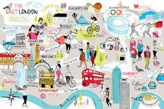 Tilly aka Running for Crayons - Illustrated map of East London. The Observer newspaper. #illustration #map