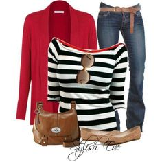 The All-New Sexy Stripes in Stylish Eve Fall Outfits New Outfits, Casual Outfits, Cute Outfits, Fashion Outfits, Fall Winter Outfits, Autumn Winter Fashion, Black And White Tees, Stylish Eve, Red Blazer