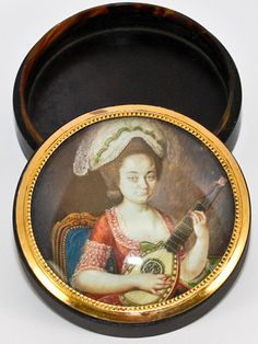 Rare Antique French Tortoise Shell Portrait Miniature Snuff Box, Woman with a Mandolin  photo credit: Antiques & Uncommon Treasure