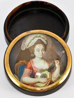Rare Antique French Tortoise Shell Portrait Miniature Snuff Box, Woman with a Mandolin  photo credit: Antiques & Uncommon Treasure