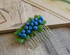 Rustic hair comb - blueberries, berries - rustic wedding - woodland wedding - forest fairy - hair accessory - nature inspired - fall, autumn by GentleDecisions on Etsy