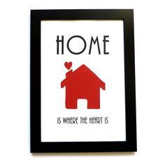 Home is where the heart is. Håndlavet A4 billede. Sød gave til mors dag.