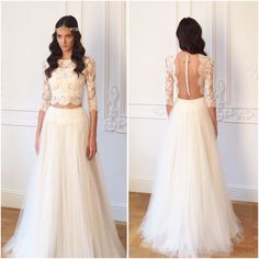 Dreamy tulle crop top two piece lace backless wedding gown by divine atelier