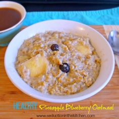 Healthy Pineapple Blueberry Oatmeal from Seduction in the Kitchen