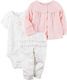 Carter's Baby Girls' Textured Cardigan Set Newborn: Keep her look charming with this three piece bunny bodysuit, cardigan and ruffle rear pants from Carter's. Outfits Niños, Baby Outfits, Kids Outfits, Casual Outfits, Carters Baby Girl, Baby Girls, Going Home Outfit, Ruffle Pants, Cute Baby Clothes
