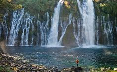 """""""Lake Shasta and some of the most scenic waterfalls of California, including Mossbrae Falls, McCloud River Falls and Burney Falls."""" -site (8ish hrs from La 5hrs from Eugene) :)"""