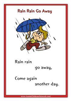 Rhymes Worksheets Rain Rain Go Away