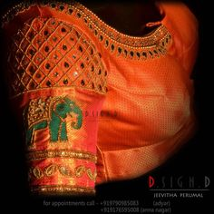 Elephant indulgence with the diamond checkers . Beautiful orange color designer blouse with elephant design hand embroidery thread mirror and zardosi work. 25 April 2018