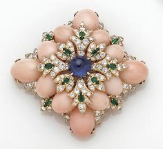CORAL AND GEM-SET BROOCH, DAVID WEBB