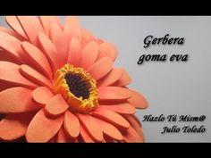 by Julio Toledo Foam Sheet Crafts, Foam Crafts, Crepe Paper Flowers Tutorial, Gerbera Flower, Flower Window, Flower Video, Foam Sheets, Clay Flowers, Handmade Flowers