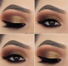 15 Alluring Golden Smokey Eye Makeup Ideas - - - 15 Alluring Golden Smokey Eye Makeup Ideas - Beauty Makeup Hacks Ideas Wedding Makeup Looks for Women Ma. Eye Makeup Designs, Eye Makeup Tips, Makeup Inspo, Beauty Makeup, Makeup Ideas, Makeup Products, Hair Makeup, Makeup Kit, Makeup Tricks