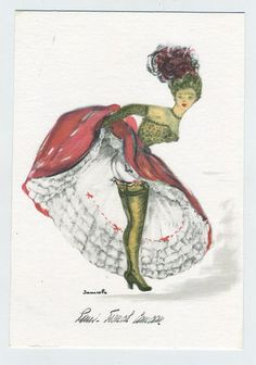 Janicotte  CANCAN Dancer vintage  postcard