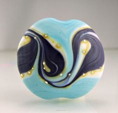 Etched Turquoise Ivory Purple Silver Lampwork by skyvalleybeads, $21.50