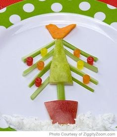 #Salad for #Kids - Parenting.com   I would use berries  grapes for the ornaments.  :)      #Christmas #holiday #recipes #kids #children #healthy #kid-friendly #food