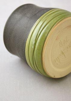 Small Juice Cup   Ceramic Tumbler in Graphite Gray by NstarStudio, $15.00