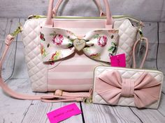 Betsey Johnson Large Floral Stripped Bow Tote Handbag Purse & Wallet Clutch New! #BetseyJohnson #TotesShoppers
