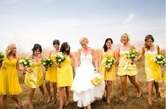 i dont like that all the dresses are different but the incorporation of green and yellow is adorable