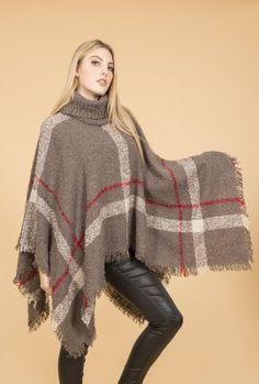 Mocha Poncho | Jayley Roll Neck Knit Poncho