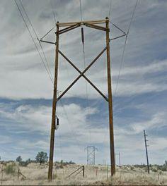 K-frame transmission structure with cutoff crossarm (Arizona Public Service 230 kV) Transmission Tower, Electric Power, Public Service, Utility Pole, Wind Turbine, Arizona, Frame, Picture Frame, Civil Service