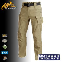 Breathable and fast drying Helikon Outdoor Tactical Pants feature an elastic waist with Hook and Loop fastener, YKK zippered fly, ten useful pockets, reinforced knees with internal knee pads compartments, cuffs with cord channels, and D-ring and karabiner compatible key loops. Ideal for hiking and other outdoor pursuits. Only £72.00! Find out more at Military 1st online store. Free UK delivery and returns! Competitive overseas shipping rates.