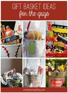 Gift Basket Ideas for Everyone on Your List From camping kits, to handy-man buckets, you will love these creative gift basket ideas for him!From camping kits, to handy-man buckets, you will love these creative gift basket ideas for him! Creative Gift Baskets, Diy Gift Baskets, Raffle Baskets, Creative Gifts, Basket Gift, Homemade Gift Baskets, Wine Baskets, Gifts For Brother, Gifts For Coworkers