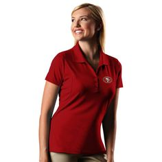 San Francisco 49ers Antigua Women's Pique Xtra-Lite Polo - Red