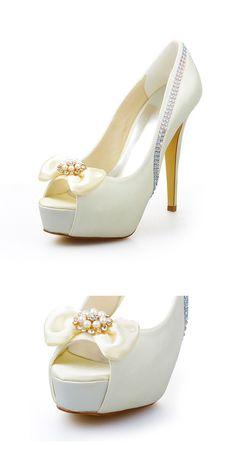 57e7a09dda6 Chic Satin Peep Toe Stiletto Heels Bridal Shoes With Bowknot   Pearl