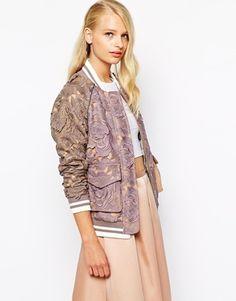 Self Portrait Lace Mix Bomber Jacket - Lilac/gray on shopstyle.com