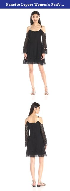 Nanette Lepore Women's Performance Dress, Black, 8. Beautiful embroidered eyelet dress with of the moment off the shoulder detail..great sleeve and easy fit.
