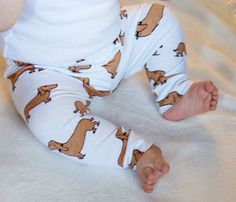 Baby Leggings Dachshund Weiner Dog Cotton Jersey by BabalusByLucy