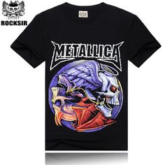 e6a6780483a  Mne bone  Tee Men Black T-Shirt Cotton Metallica Skull Print Heavy Metal  Rock Hip Hop Clothing Black short T shirts